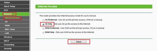 Режим подключения 3G Only (Только 3G)