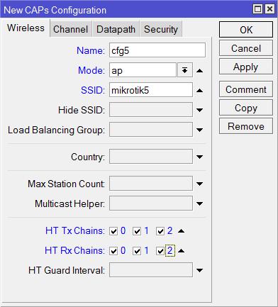 Создание новой конфигурации для частоты 5ГГц в MikroTik CAPsMAN
