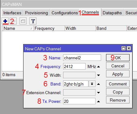 Настройка канала 2,4ГГц в MikroTik CAPsMAN