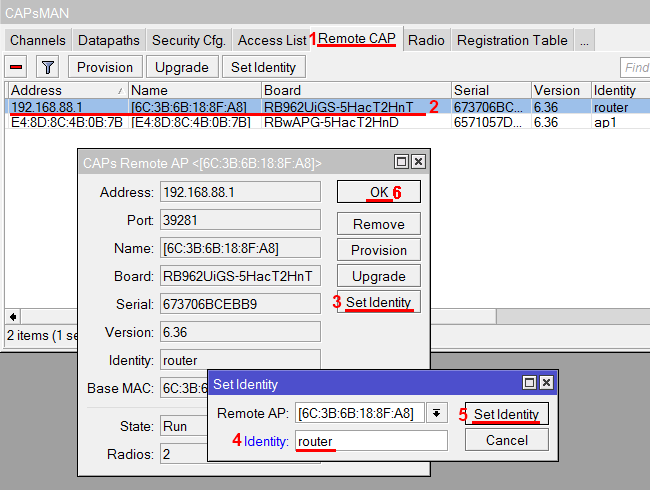 Переименование идентификатора роутера и точки доступа