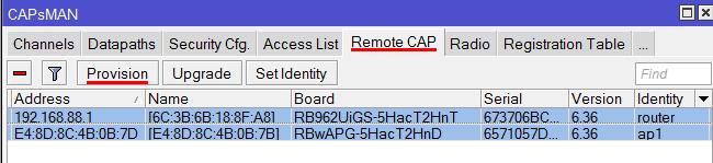 Обновляем настройки точек доступа в MikroTik CapsMan