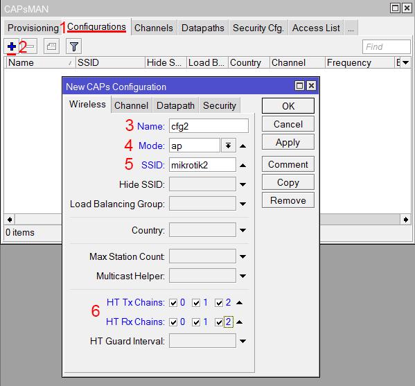 Создание новой конфигурации для частоты 2,4ГГц в MikroTik CAPsMAN