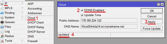 Откройте меню IP - Cloud
