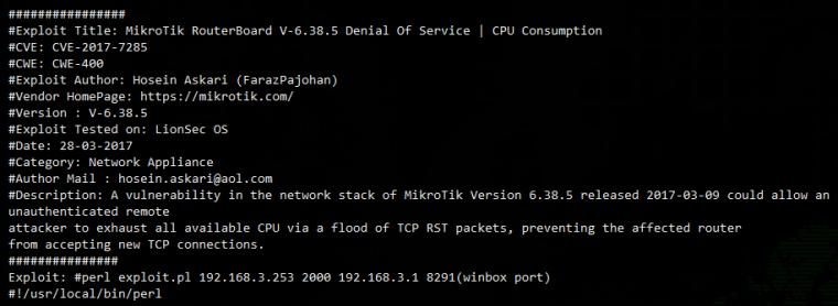 Уязвимость ЦП RouterOS