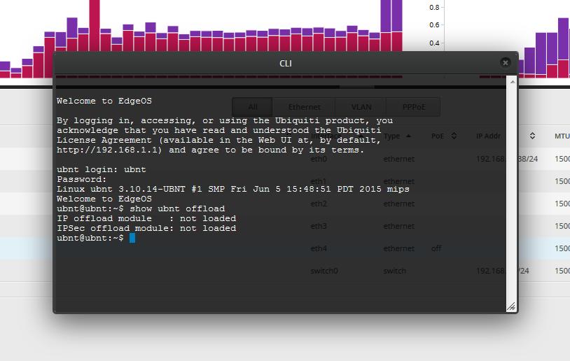 CLI команда show ubnt offload