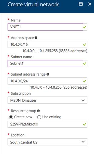 Создание межсетевого VPN (IPSec IKEv2) с помощью Azure и MikroTik (RouterOS)