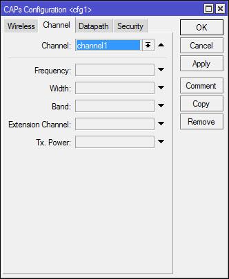 cAP configuration - вкладка Channel