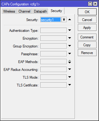 cAP configuration - вкладка Security