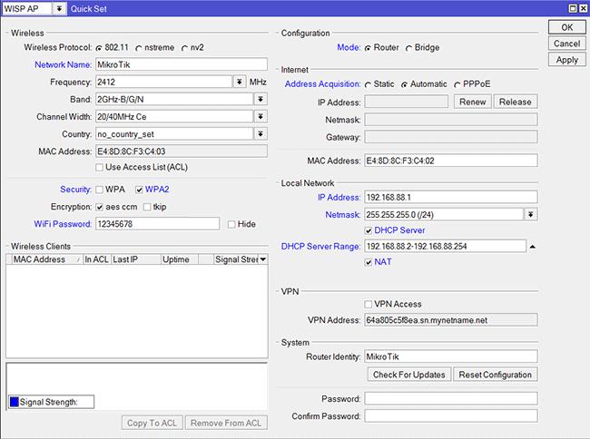 Окно QuickSet для удобной настройки Wi-Fi точки MikroTik