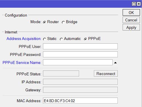 Настройка PPPoE Wi-Fi точки MikroTik в режиме роутера