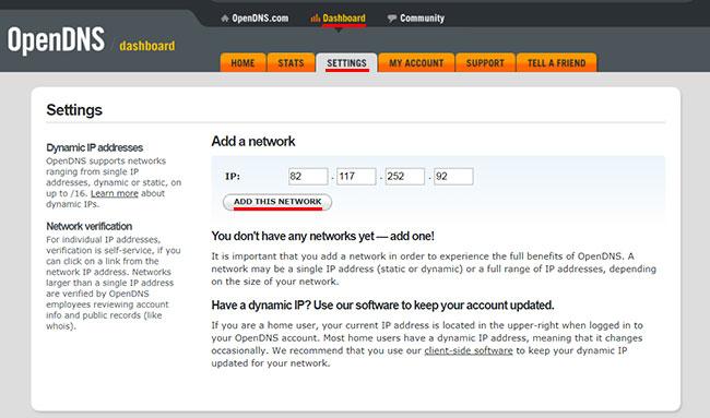 Добавляем свою сеть в OpenDNS