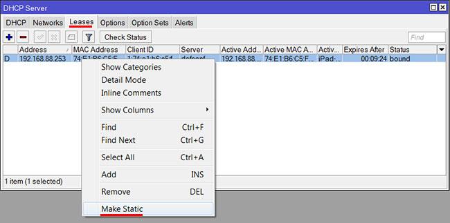 Привязка MAC адресов к IP адресам в роутере MikroTik