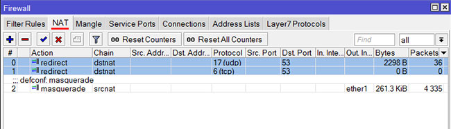 Защита от альтернативных DNS серверов в роутере MikroTik