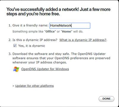 Указываем название своей сети в OpenDNS