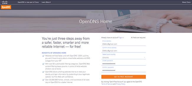 Регистрация на сайте OpenDNS