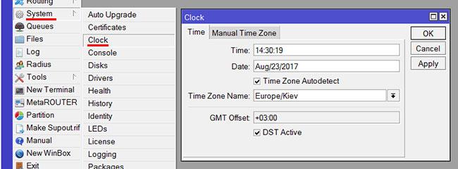 Проверяем настройки даты и времени в роутере MikroTik