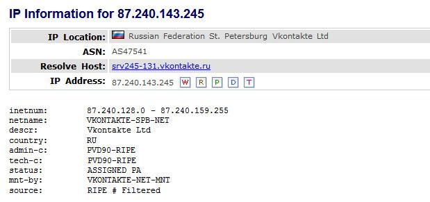 Whois информация о Vkontakte Ltd
