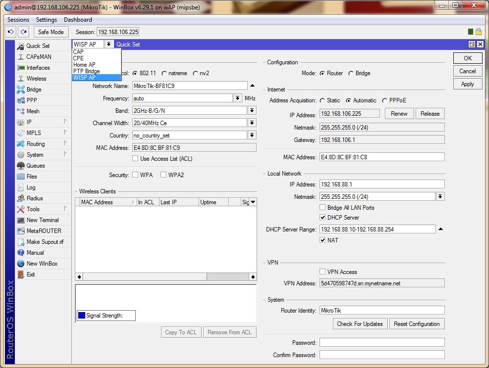 RBwAP2nD (wAP) quick set and modes