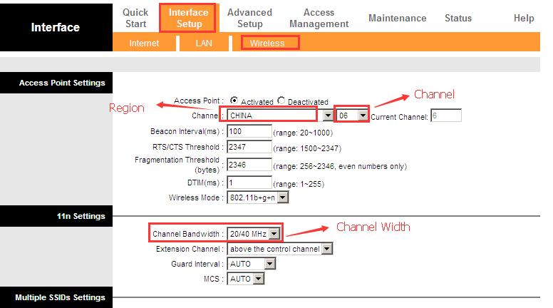 Interface Setup (Настройка интерфейса) – Wireless(Беспроводная сеть)