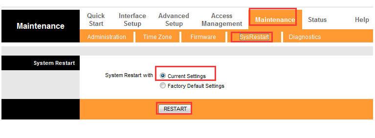 Maintenance (Эксплуатация устройства) –SysRestart (Перезагрузка системы)