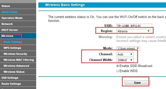 Wireless (Беспроводной режим) – Basic Settings (Базовые настройки) (или Wireless 2.4 GHz (Беспроводной режим 2,4 ГГц) - Wireless Settings (Настройки беспроводного режима)