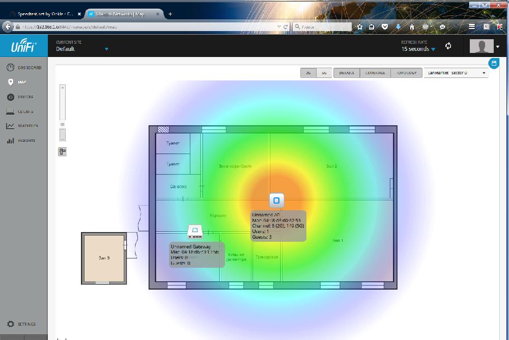 UniFi Controller детальная информация об устройствах на карте