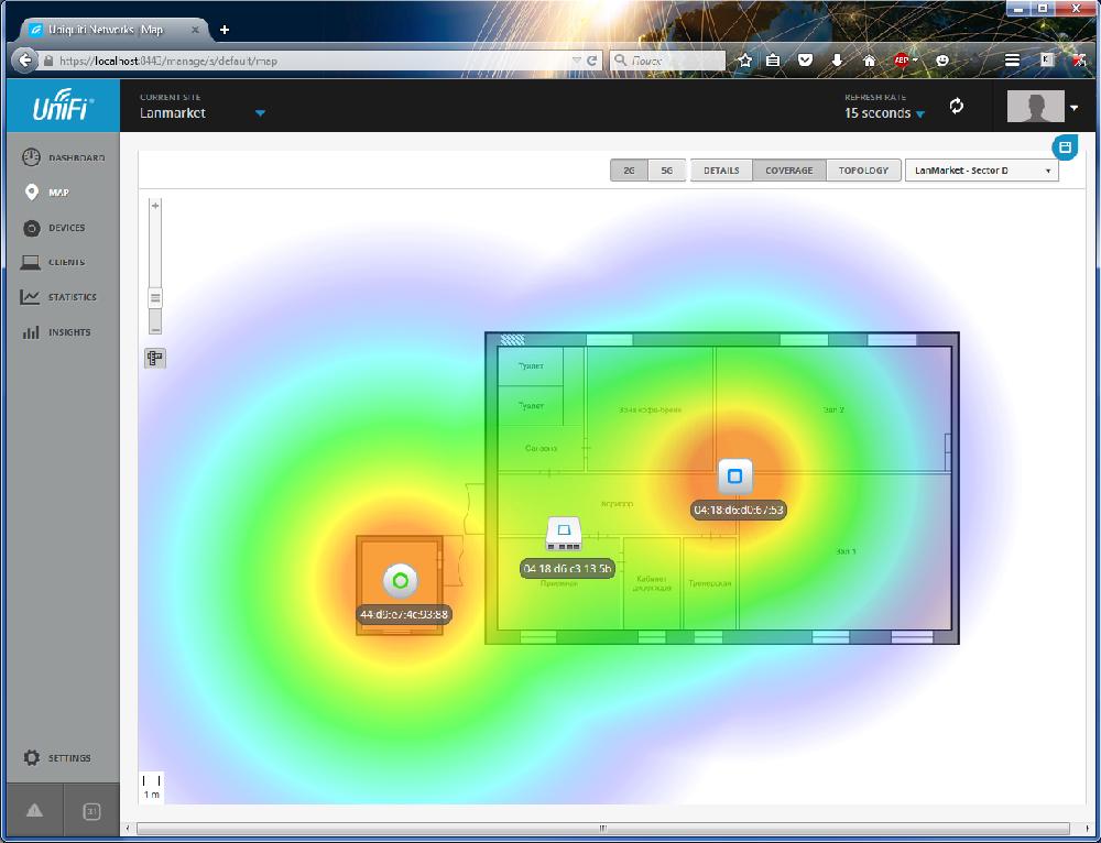 UniFi Controller отображение нового устройства на карте