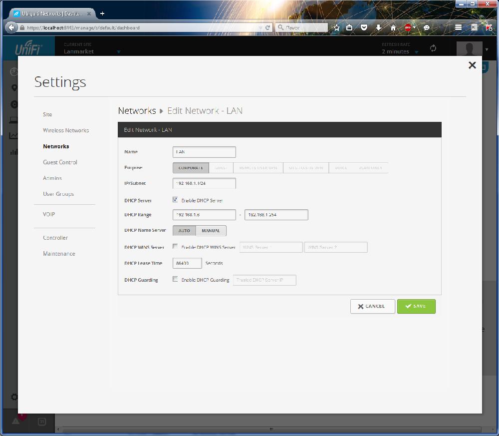 UniFi Controller настройки удаленных сетей