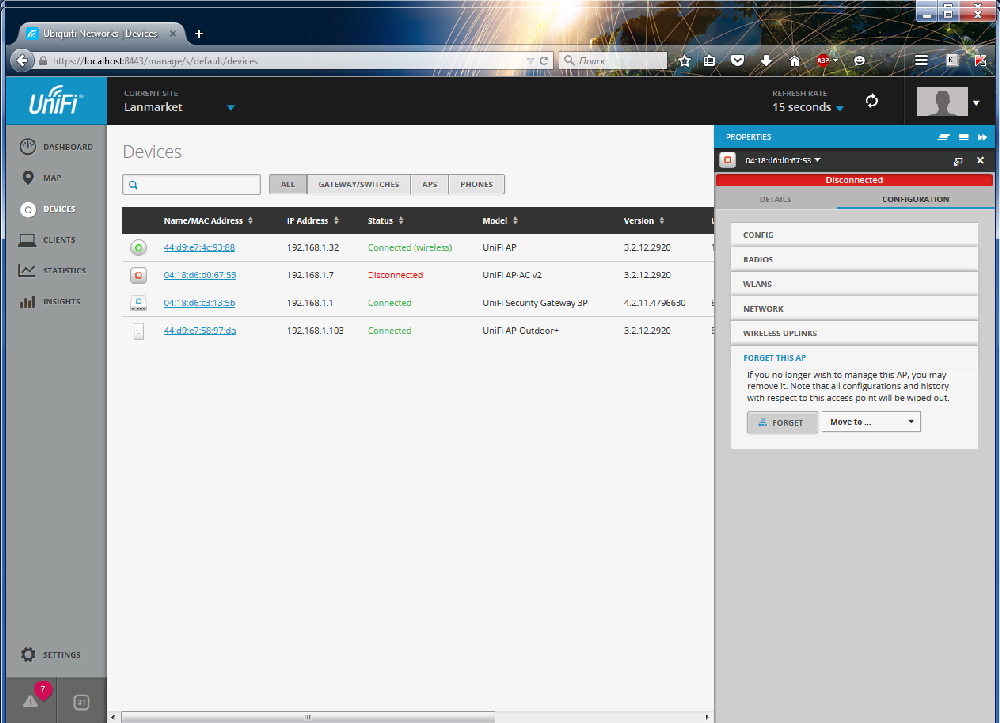 UniFi Controller удаление точек доступа