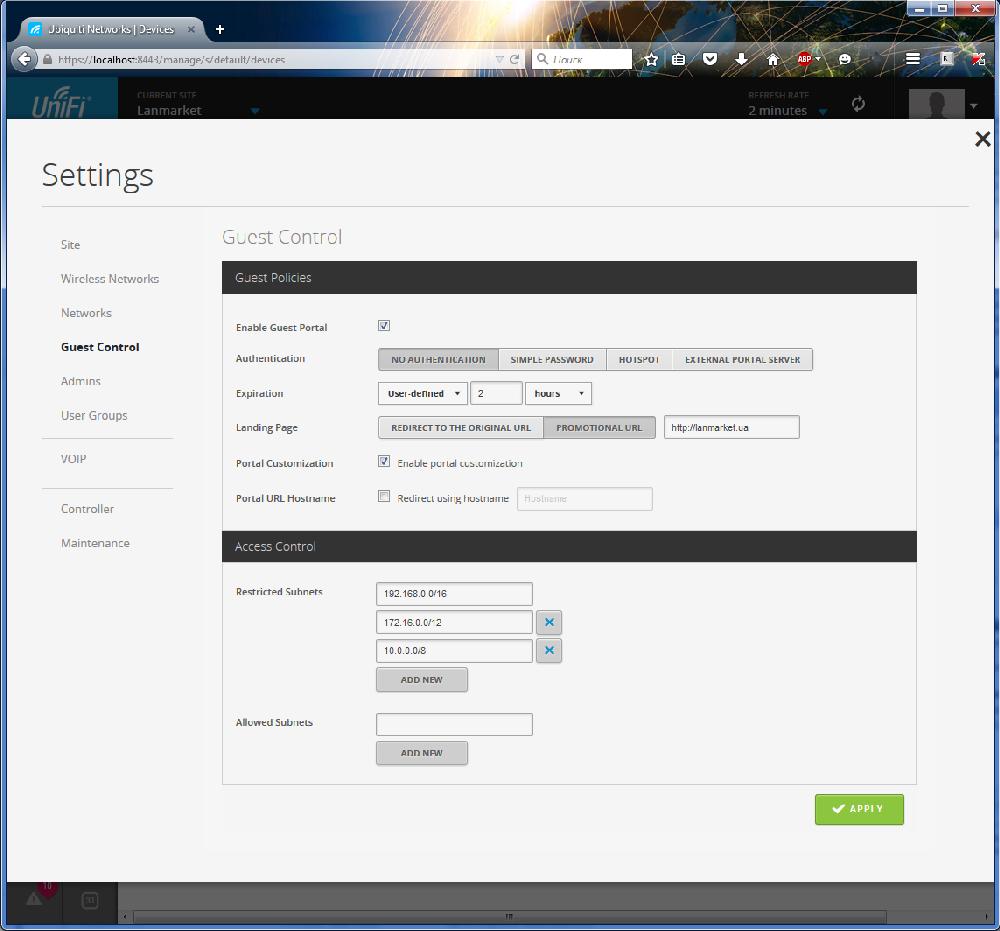UniFi Controller Настройка HotSpot на UniFi, гостевой траффик