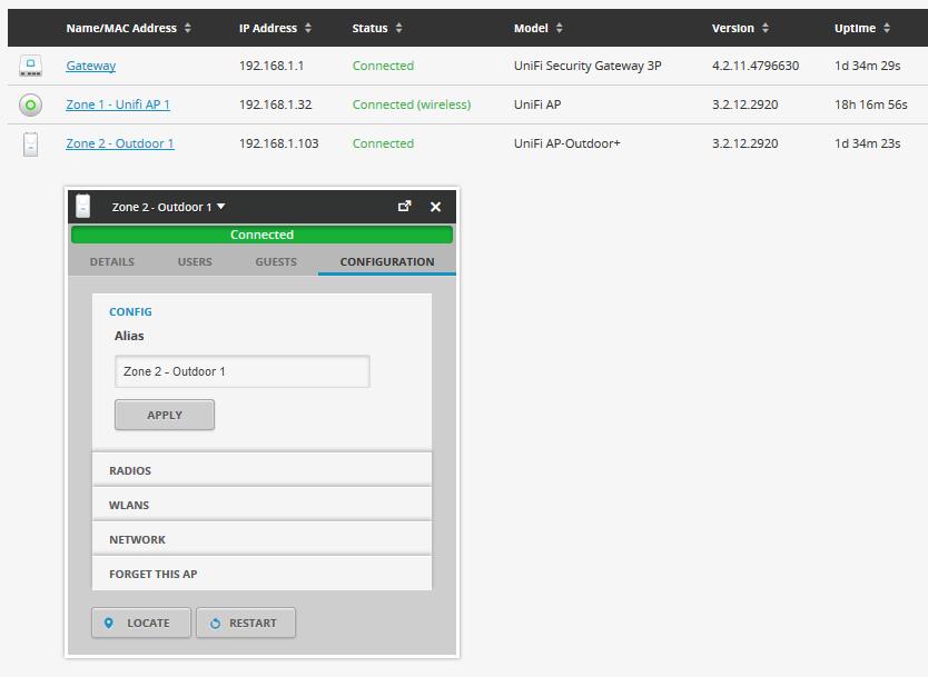 UniFi UAP-Outdoor+ раздел Configuration