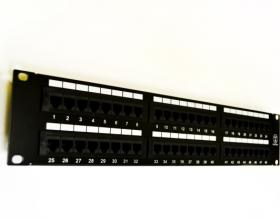 """Патч-панель 19"""", 48хRJ45, 568A/В, UTP, категория 5е, 2U, черного цвета"""