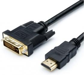 Кабель HDMI - DVI 5 m (24 pin, 2 феррита, черный, пакет), AT9154