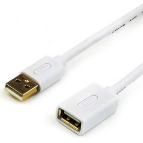 Удлинитель USB 1.8 m (Am-Af, белый), блистер AT3688